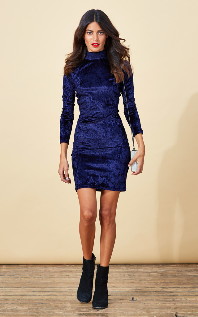 Samara Dress in Twilight Blue Velvet image