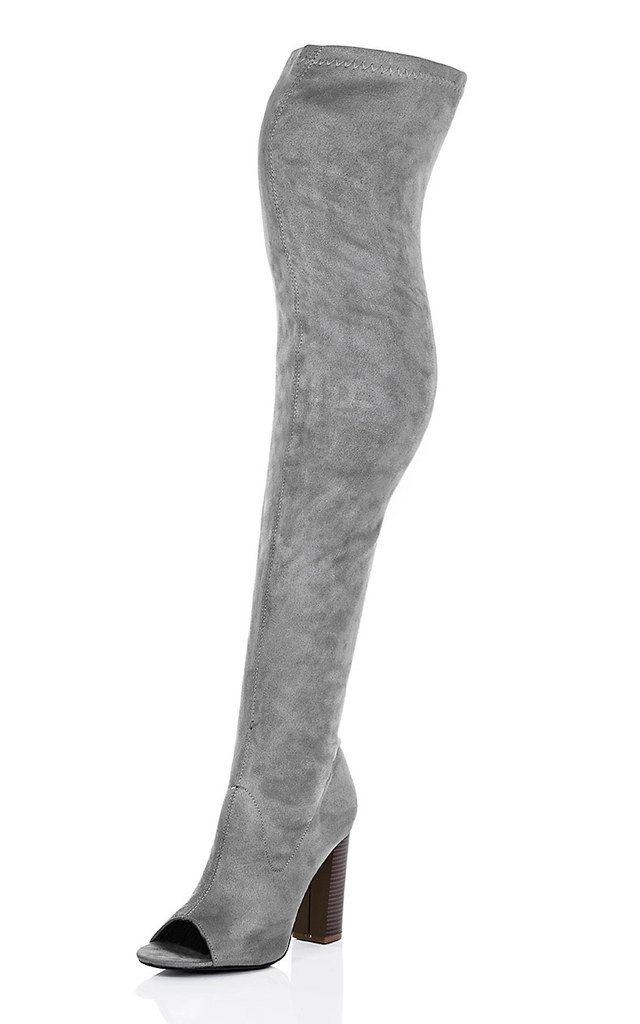 LAVERNE Open Peep Toe Block Heel Over Knee Tall Boots - Grey Suede Style by SpyLoveBuy