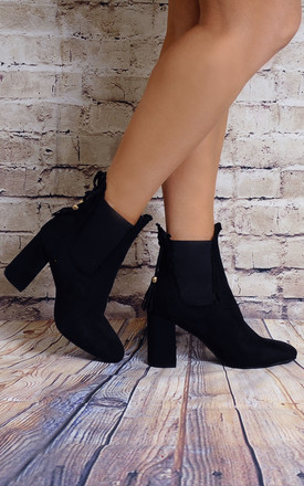 Black Frill Chelsea Ankle Boots High Heels by Shoe Closet
