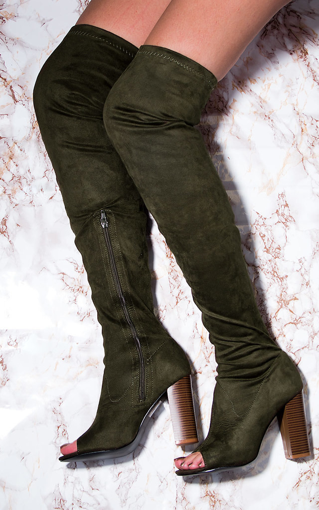 LAVERNE Open Peep Toe Block Heel Over Knee Tall Boots - Khaki Suede Style by SpyLoveBuy