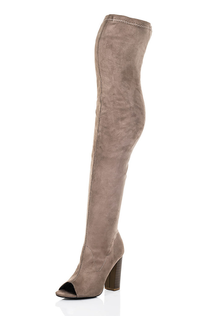LAVERNE Open Peep Toe Block Heel Over Knee Tall Boots - Brown Suede Style by SpyLoveBuy