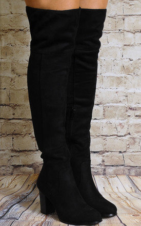 Black Over the Knee Boots High Heels by Shoe Closet