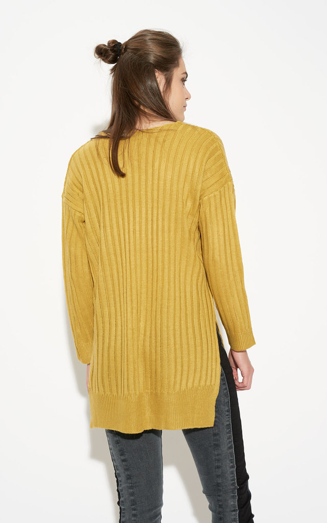 Mustard Asymmetrical V Neck Knit Sweater by Momokrom