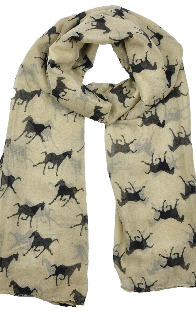 HORSE PRINT BROWN SCARF by GOLDKID LONDON