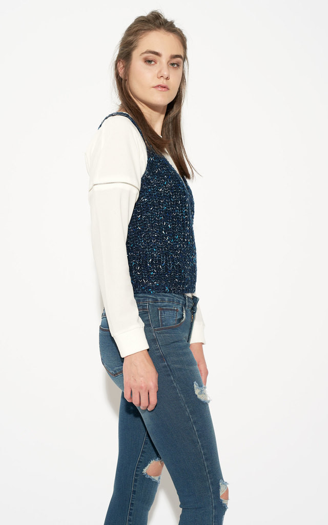 Sleeveless Speckled Knit Crop Top by Momokrom