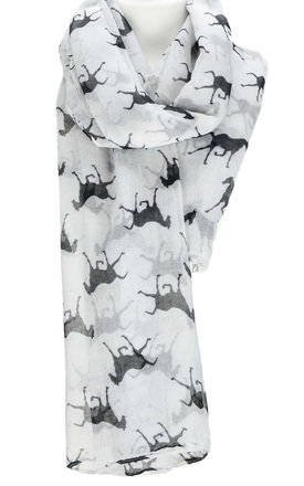 HORSE PRINT WHITE SCARF by GOLDKID LONDON