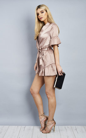 Nude Satin Wrap Ruffle Belted Playsuit by Bella and Blue