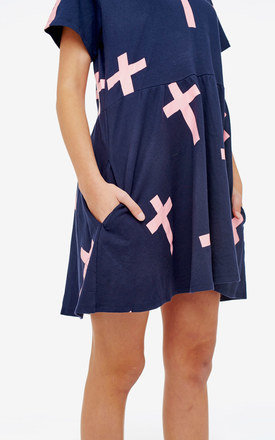 Cross Print Navy Oversized Babydoll Dress by Momokrom