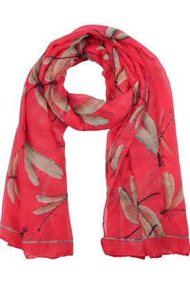 DRAGONFLY PRINT RED SCARF by GOLDKID LONDON
