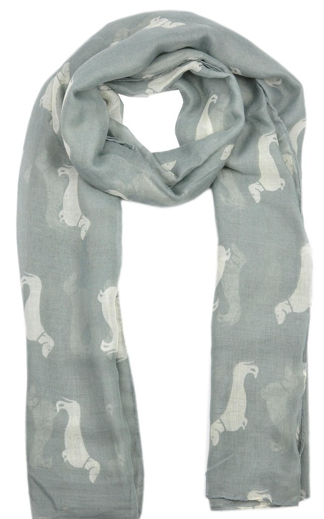 Lightweight Scarf in Grey Dog Print by GOLDKID LONDON