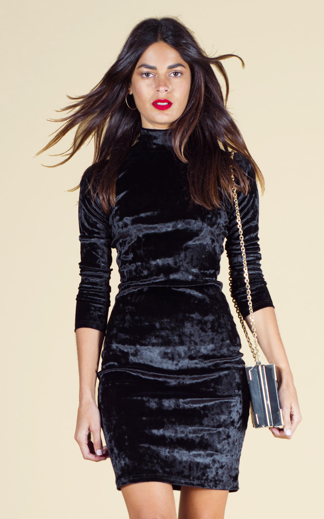 SAMARA DRESS IN BLACK VELVET image