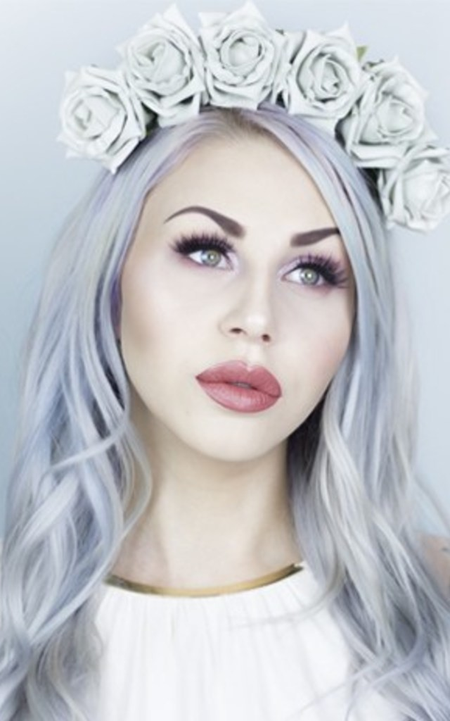 TALIA - Ice Grey Rose Flower Crown by LULU IN THE SKY