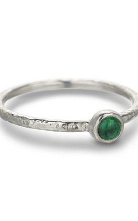 Silver Hammered Emerald Stacking Ring: Ancient Awe by Frillybylily
