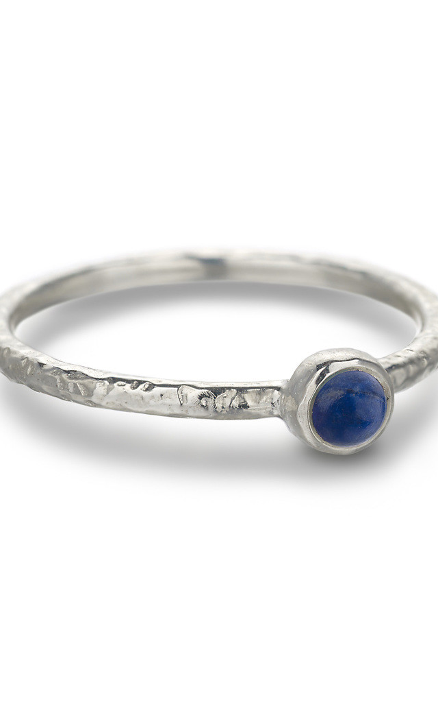 Silver Hammered Lapis Lazuli Stacking Ring : Ancient Awe by Frillybylily