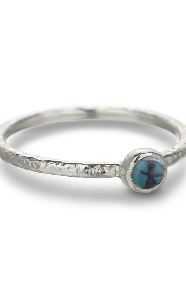 Silver Hammered Turquoise Stacking Ring : Ancient Awe by Frillybylily