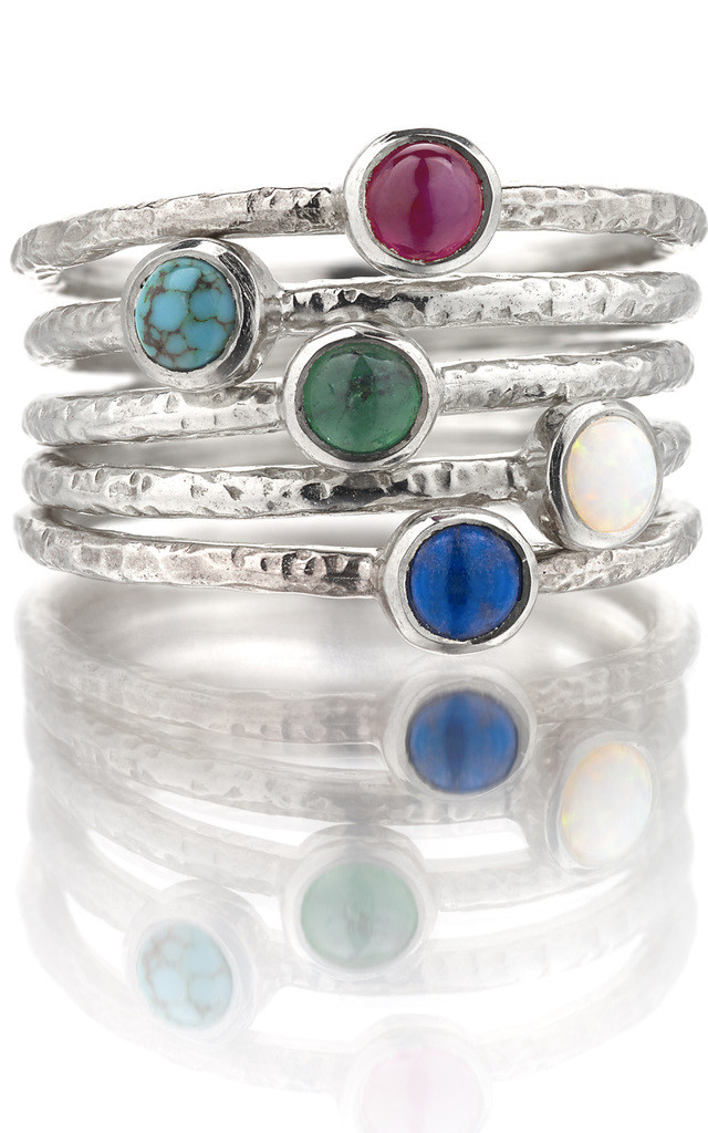 Silver Hammered Gemstone Ring Stack : Ancient Awe by Frillybylily