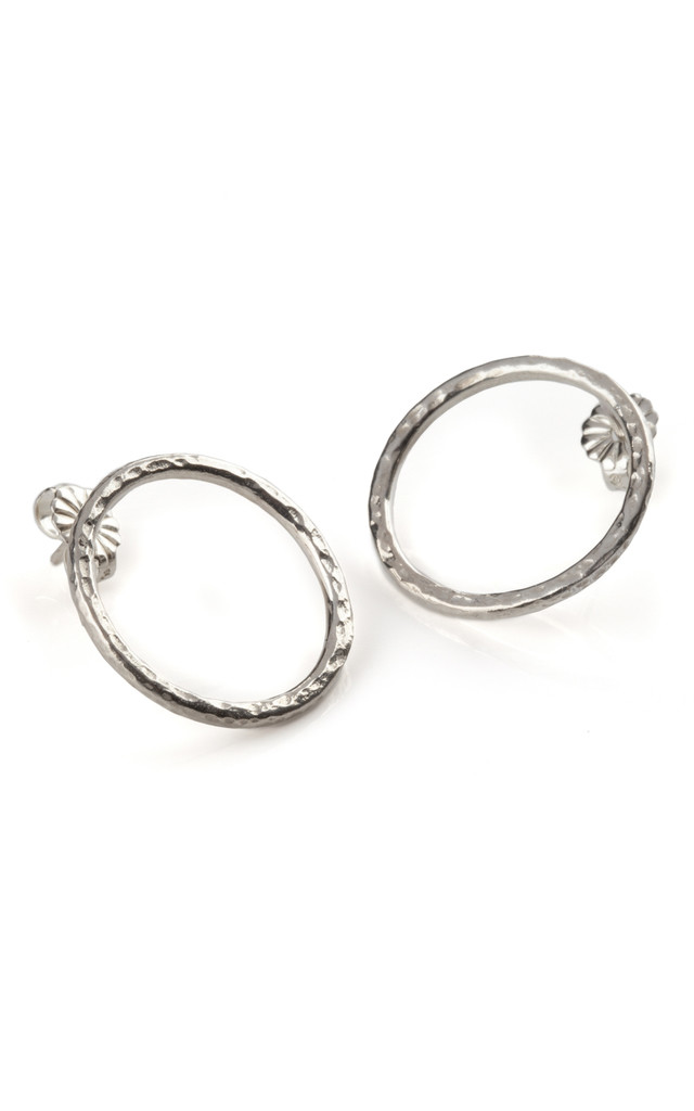 Silver Hammered Hoop Earrings: Ancient Awe by Frillybylily