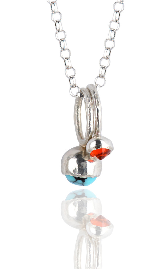 Turquoise and Fire Opal Silver Gemstone Cluster Necklace by Frillybylily