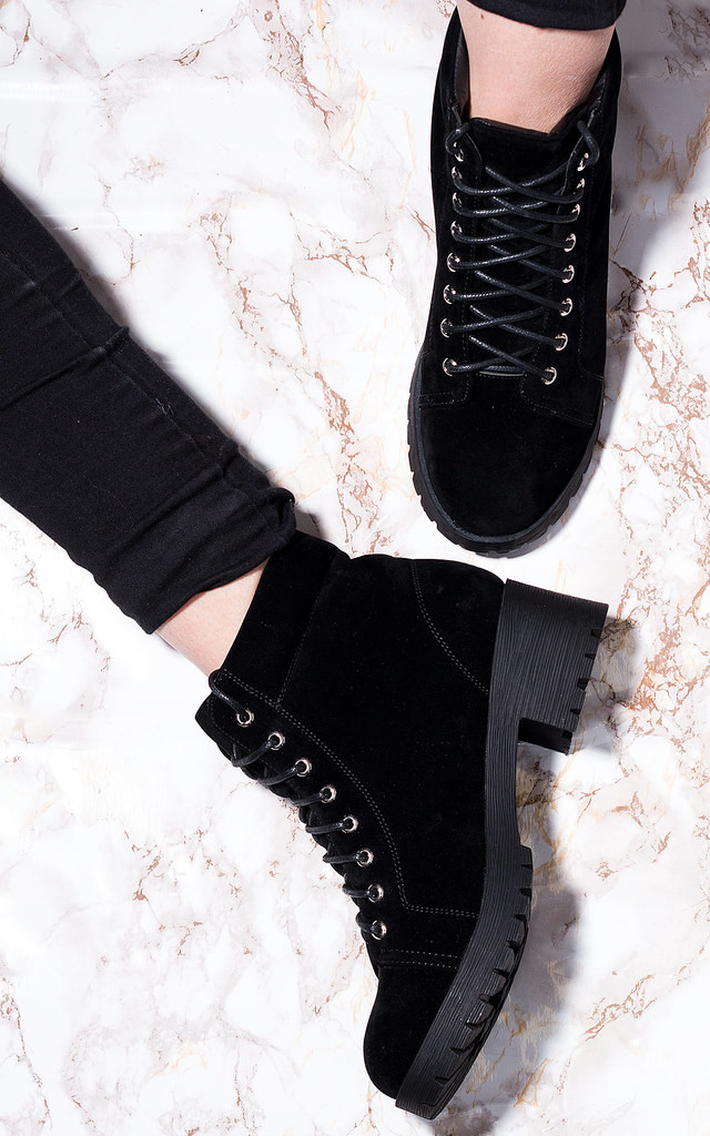 BLUEFIN Lace Up Cleated Sole Block Heel Combat Worker Walking Ankle Boots Shoes - Black Suede Style by SpyLoveBuy