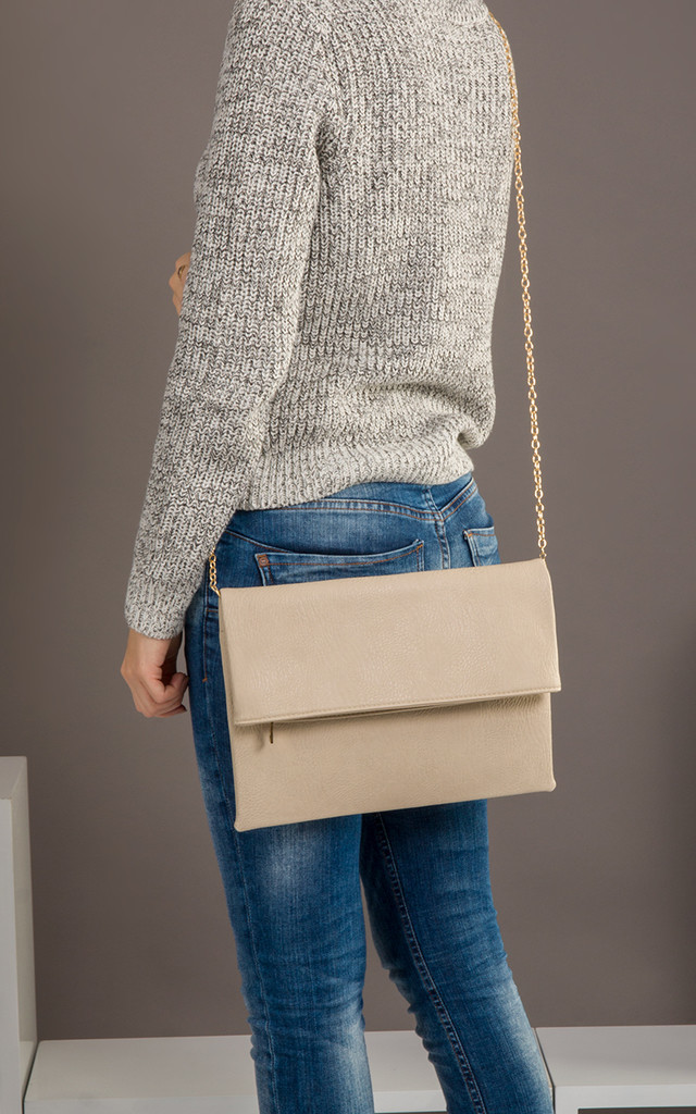 Harper Faux Leather Clutch Bag in Beige by KoKo Couture