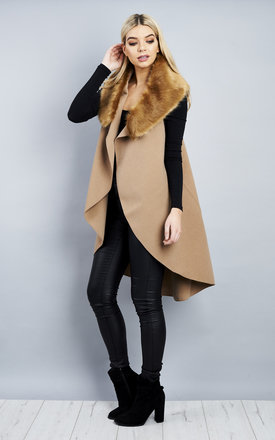 MOCHA FAUX FUR COLLAR WATERFALL WAIST COAT by Lilah Rose