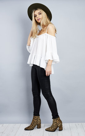White Off Shoulder Top With Pom Pom Neck Detail by Bella and Blue