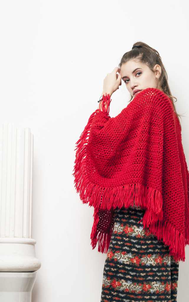 70s vintage red fringe crocheted poncho by Pop Sick Vintage