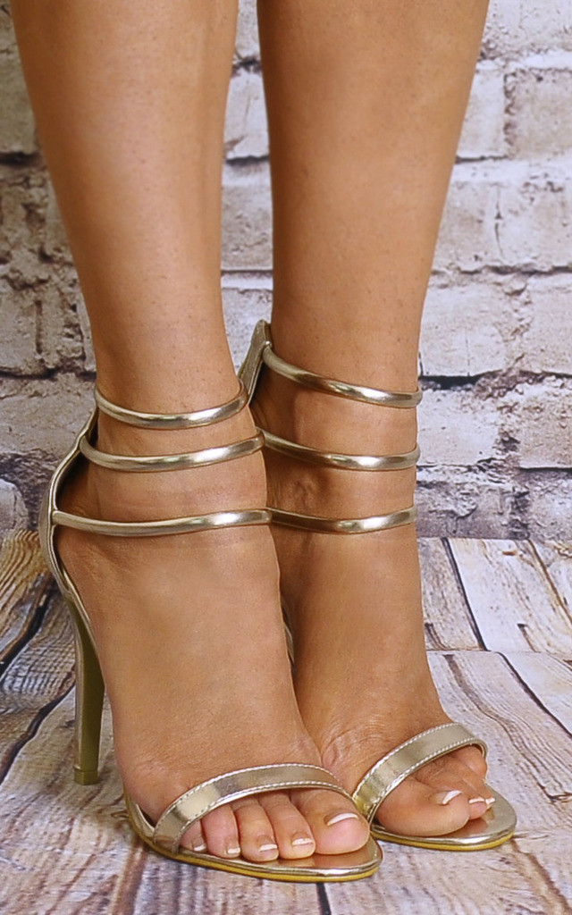 Gold Metallic Barely There Peep Toes Strappy Sandals High Heels by Shoe Closet