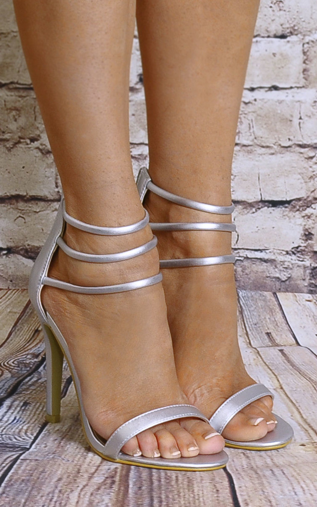 Silver Metallic Peep Toes Barely There Strappy Sandals High Heels by Shoe Closet