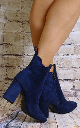 Blue Faux Suede Ankle Boots High Heels by Shoe Closet