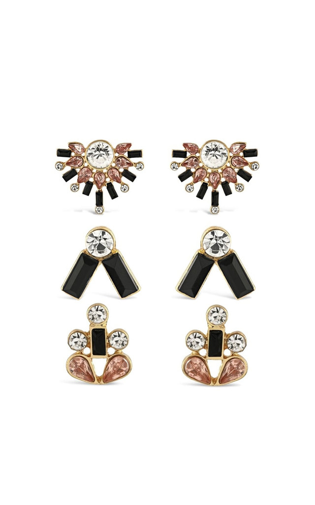 Johnny Loves Rosie Black Multipack Earrings by Johnny Loves Rosie