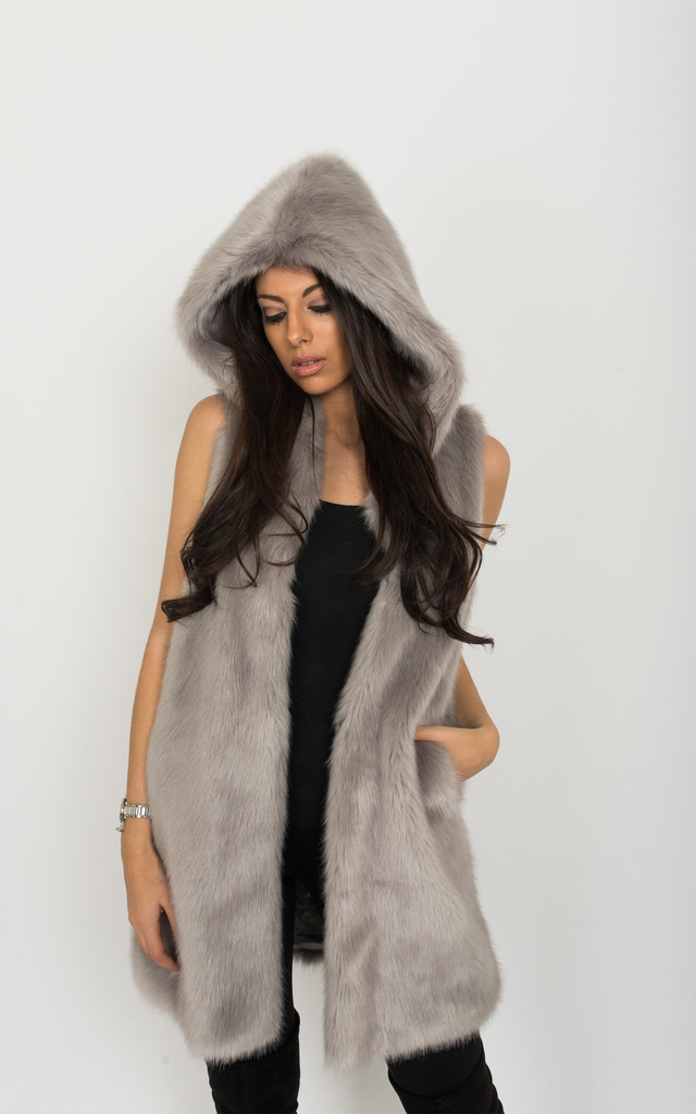 Lavachet Premium Grey Faux Mink Hooded Gilet by Faux England
