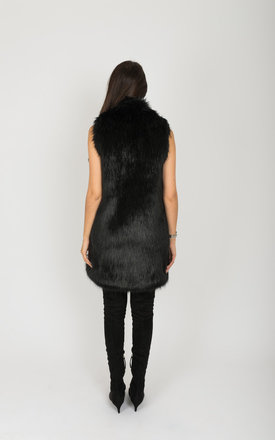Black Camille Long Line Faux Fox Gilet by Faux England