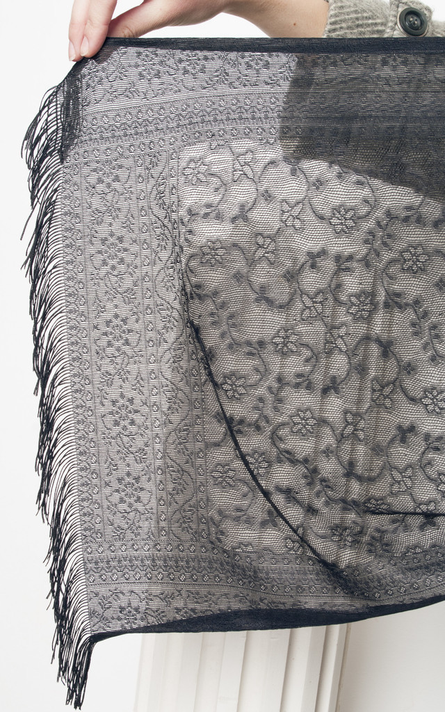 80s vintage black lace scarf by Pop Sick Vintage