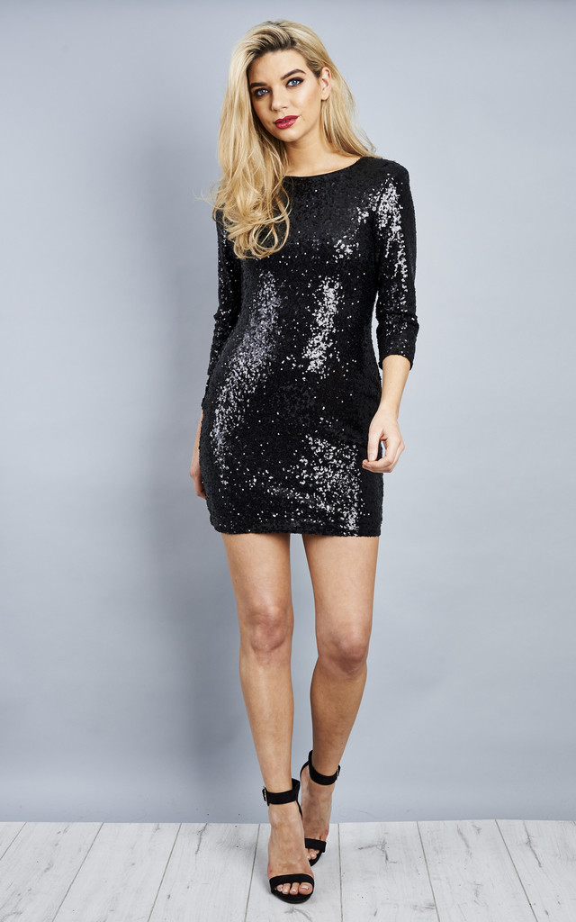 Black long sleeve sequin party dress by Lilah Rose