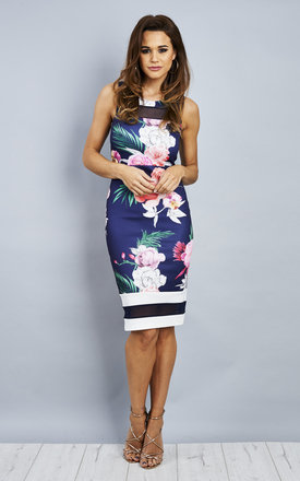 Navy Floral Midi Dress With Mesh Insert by Bella and Blue Product photo