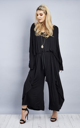 Black Drape Tie Batwing Jumpsuit by Bella and Blue Product photo
