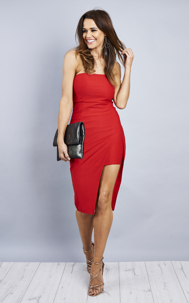 Boob Tube Side Split Midi Dress - Red by Npire London
