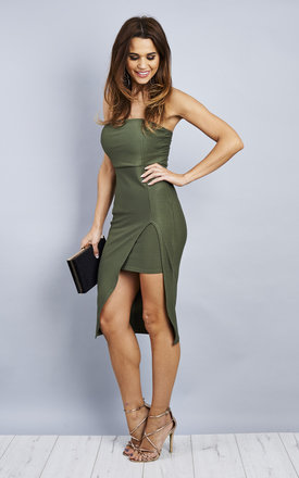Boob Tube Side Split Midi Dress -  Khaki by Npire London