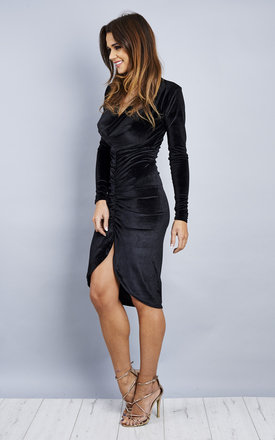 Front Ruched Cowl Velvet Midi Dress - Black by Npire London