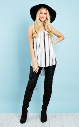White Aztec Stripe Tunic Top by Glamorous Product photo