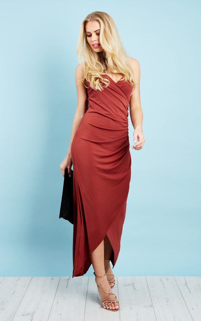 Rusty Red Cross Over Dipped Hem Maxi Dress by John Zack