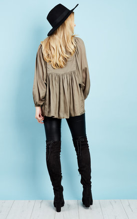 Khaki mirror and embroidered smock top with pompom tie by Glamorous