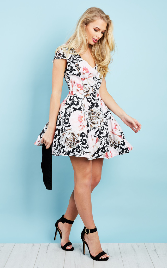 Black and Pink Rose Print Skater Dress by Glamorous