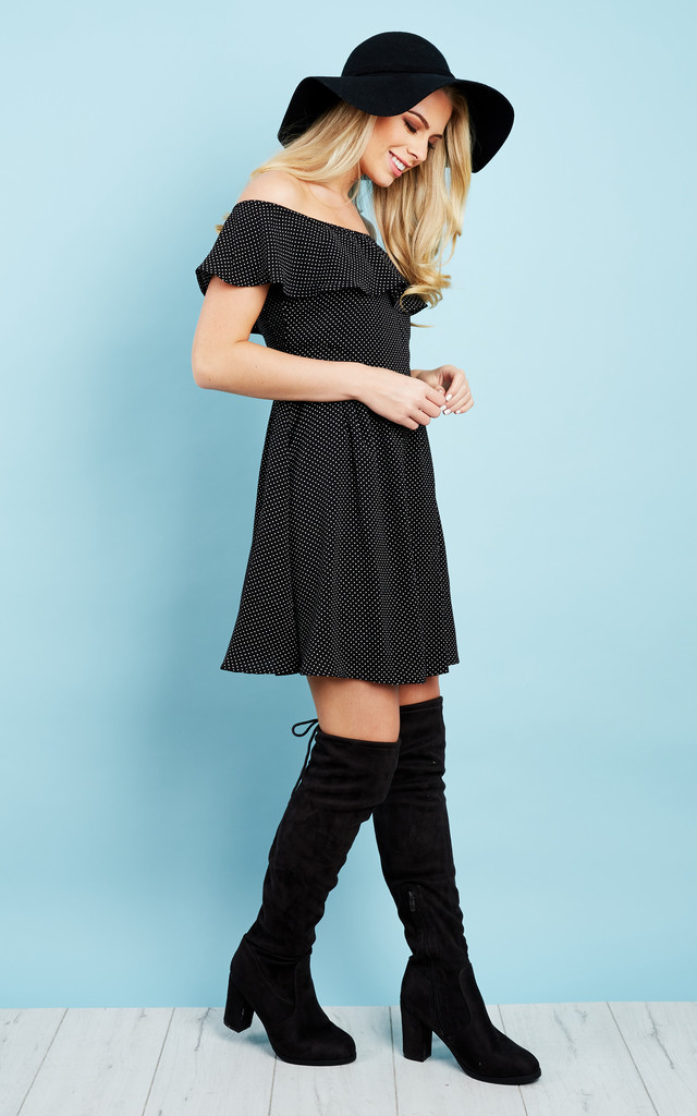 Black Polka Dot Bardot Ruffle Dress by Glamorous
