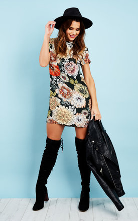 Black floral shift dress by Glamorous