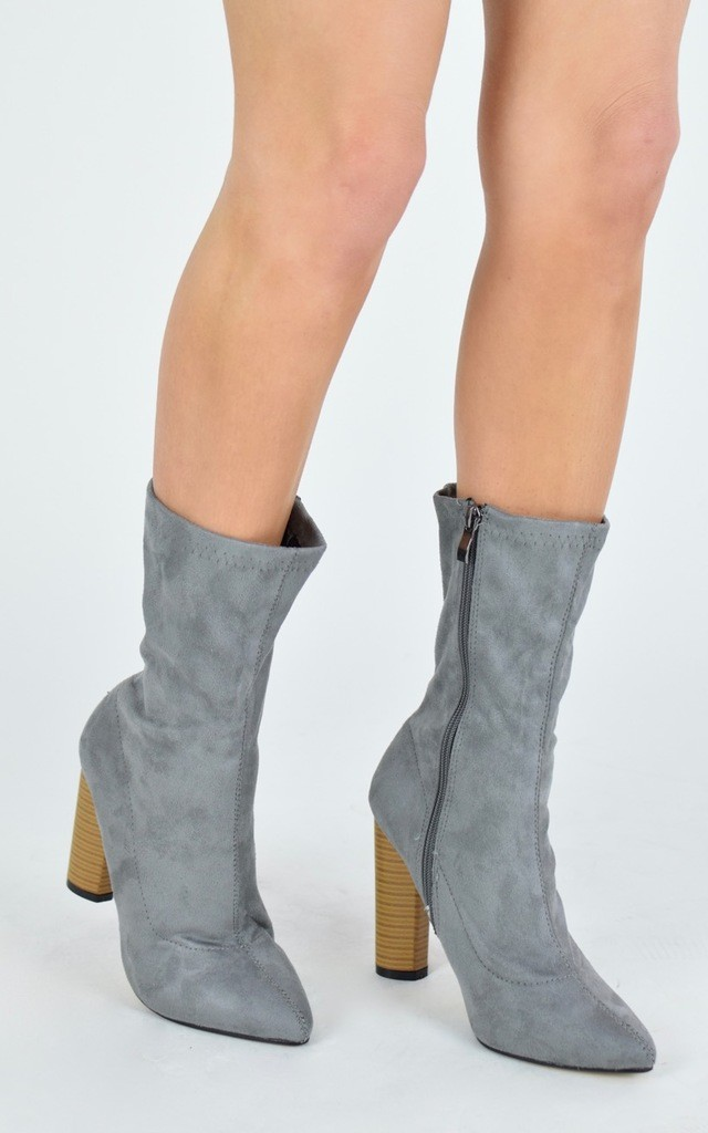 SHAUNA Stretch Fit Wood Effect Round Heel Ankle Boots - Grey Suede by AJ | VOYAGE