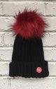 Black/Red Beanie hat with faux fur pom pom by Frankies Brand