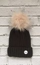 Khaki green/Cream Beanie hat with faux fur pom pom by Frankies Brand