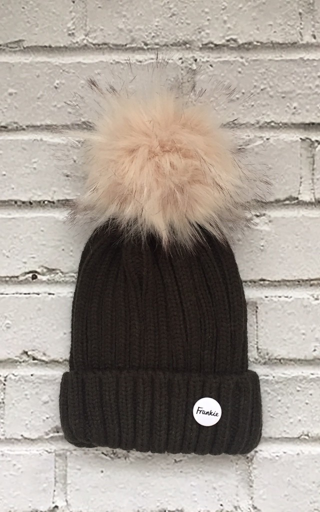 Beanie hat with detachable faux fur pom by Frankies Brand